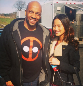 Jamie Chung and I on the set of Believe